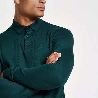 River Island Teal cable slim fit long sleeve polo shirt