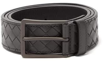 Bottega Veneta Intrecciato Leather Belt - Mens - Grey