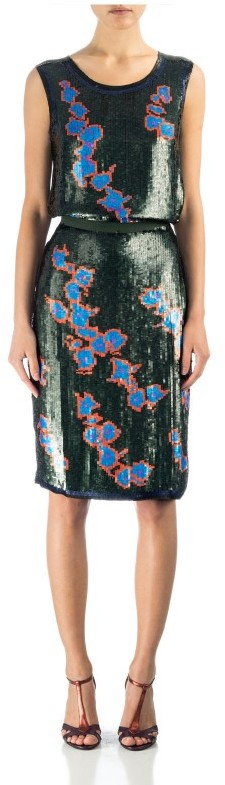 Cynthia Rowley Floral Sequin Skirt
