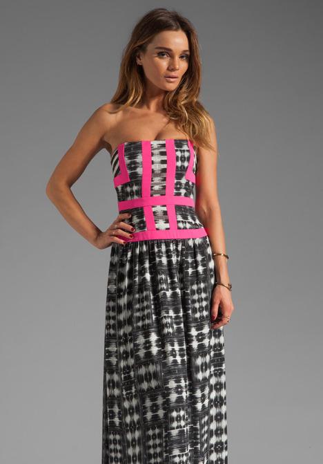 BCBGMAXAZRIA Strapless Print Maxi Dress