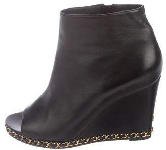 Chanel Chain-Link Wedge Booties