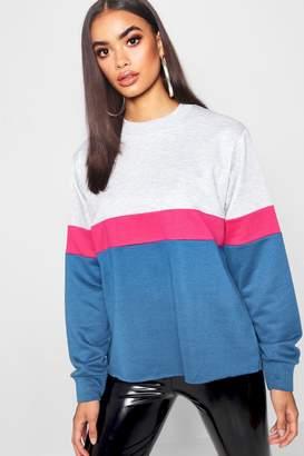boohoo Sports Stripe Colour Block Top
