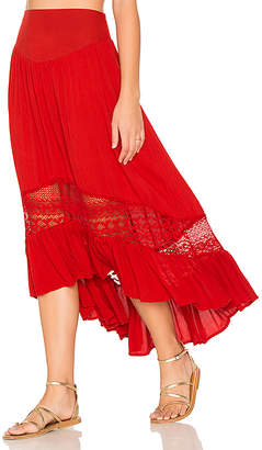 Band of Gypsies Ruffle Hem Skirt in Red $79 thestylecure.com