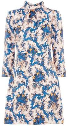 Sandro Printed Silk Shift Dress