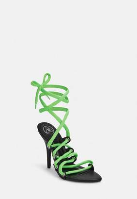 8d88b5649ef1b Missguided Green Eyelet Detail Lace Up Heeled Sandals, Green