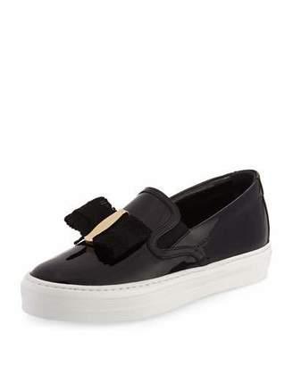 Salvatore Ferragamo Pacau Gros Bow Slip-On Sneaker, Nero $475 thestylecure.com