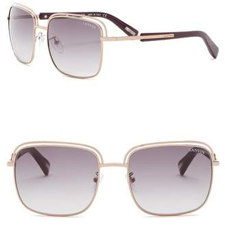 Lanvin 57mm Metal and Acetate Rectangle Sunglasses