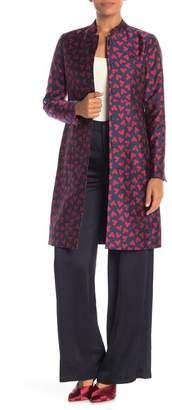 Anne Klein Abstract Hearts Mandarin Collar Trench Coat