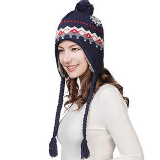 e471c0a60 Jeff   Aimy Women Thick Peruvian Beanie Wool Winter Hat Earflap Cap with  Pom Fur Lined