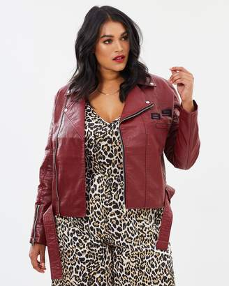 Faux Leather Embroidered Biker Jacket
