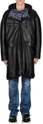 Balenciaga Men's Leather Oversized Taxi Coat - Black