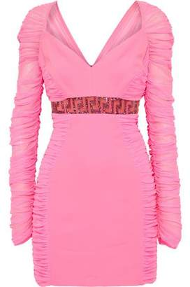 Versace Crystal-Embellished Ruched Mesh And Crepe Mini Dress