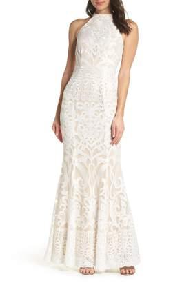 Foxiedox Alina Embroidered Halter Dress