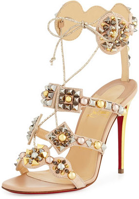 Christian Louboutin Kaleikita Spiked Lace-Up 100mm Red Sole Sandal, Version Doudou $1,295 thestylecure.com