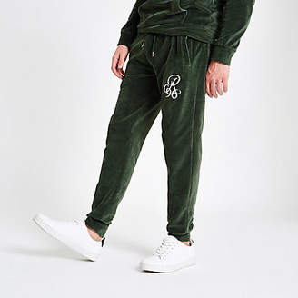 River Island Green 'R96' velour slim fit joggers