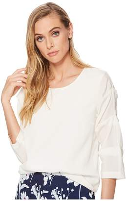 1 STATE 1.STATE Crew Neck Pintuck Sleeve Blouse Women's Blouse