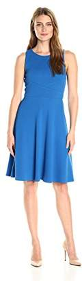 Lark & Ro Women's Sleeveless Fit and Flare Dress with Overlapping Waist