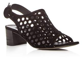 Paul Green Women's Rae Perforated Suede Block Heel Sandals