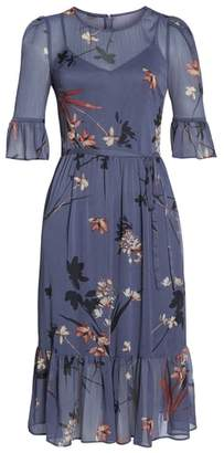 AVEC LES FILLES Floral Chiffon Midi Dress