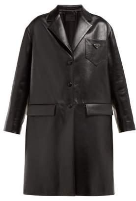 Prada Logo Plaque Single Breasted Leather Coat - Womens - Black