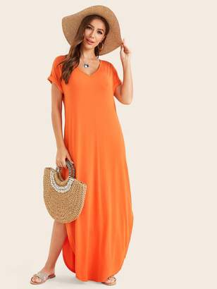Shein Neon Orange Rolled Sleeve Split Curved Hem Tee Dress