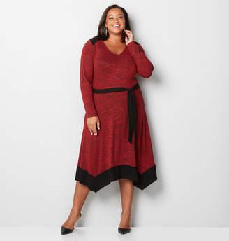 Avenue Colorblock Belted Skater Sweater Dress