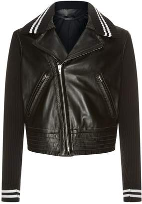 Maison Margiela Rib Detail Leather Jacket