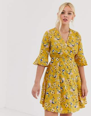 Qed London QED London floral mini wrap dress with frill sleeve detail