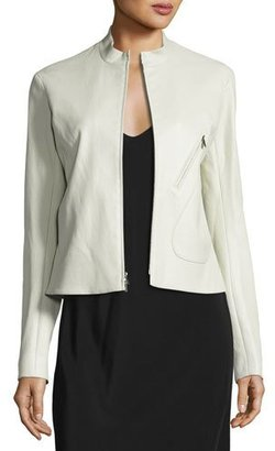 THE ROW Tripton Leather Zip Jacket, Cream $3,250 thestylecure.com