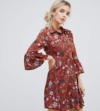 Yumi Petite Floral Skater Dress With Button Front