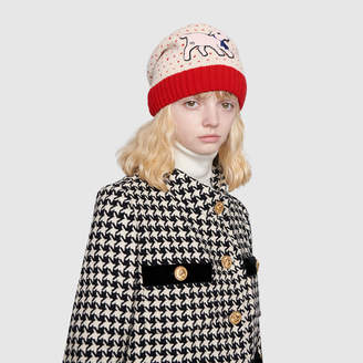 Gucci Heart wool hat with lamb patch