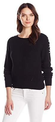 525 America Women's Lace up Sleeve Crop Shaker Crew Sweater