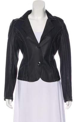 Collection Privée? Leather Long Sleeve Blazer