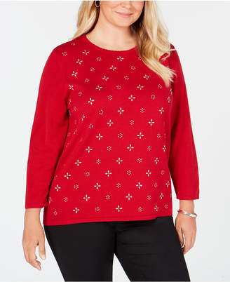 Alfred Dunner Plus Size Classics Embellished Sweater