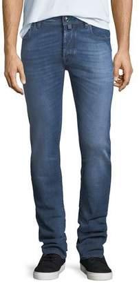 Jacob Cohen Washed Denim Straight-Leg Jeans $550 thestylecure.com