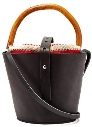 Muun Louise Leather And Rattan Bucket Bag - Womens - Red Multi