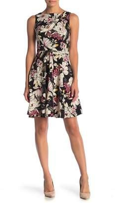 London Times Floral Shoulder Pleat Dress (Petite)