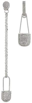 Kenneth Jay Lane CZ by Cubic zirconia mismatched safety pin drop earrings