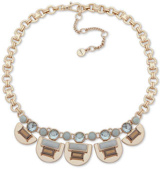 """DKNY Gold-Tone Stone & Crystal Collar Necklace, 16"""" + 3"""" extender"""