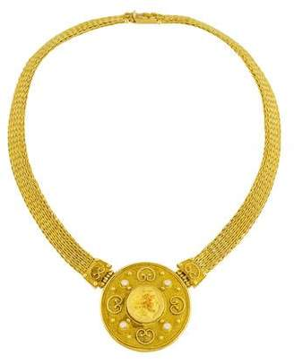 18K Diamond & Greek Coin Pendant Necklace