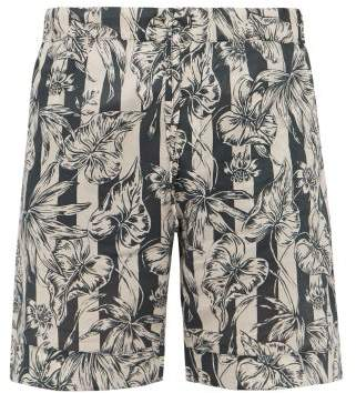 Desmond & Dempsey Striped Foliage Print Cotton Poplin Pyjama Shorts - Mens - Blue Beige