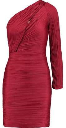 Halston Crinkled Satin-Jersey One-Shoulder Mini Dress
