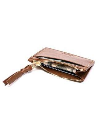 Lotuff Leather Zipper Credit Card Wallet in Chestnut