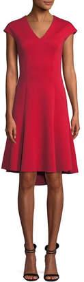 Elie Tahari Moriah Knit Cap-Sleeve V-Neck A-Line Dress