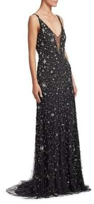 Jenny Packham Sleeveless V-Neck Crystal Star Gown