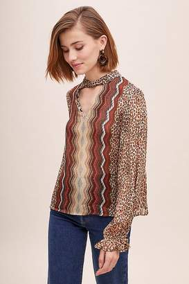 Conditions Apply Mixed-Print Peasant Blouse
