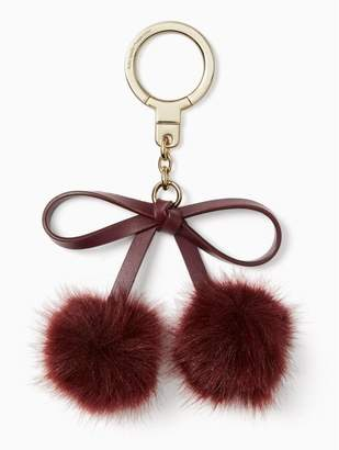Kate Spade bow pom keychain