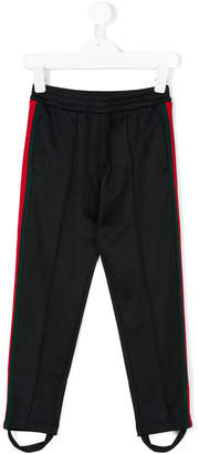 Gucci Kids contrast panel stirup trousers
