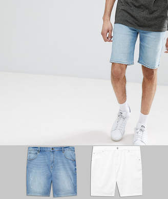 Asos DESIGN Tall Denim Shorts In Skinny White & Light Wash With Abrasions