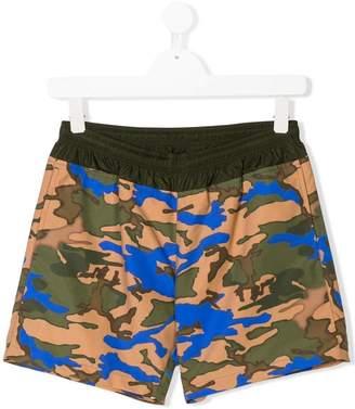 Moncler TEEN camouflage print swim shorts